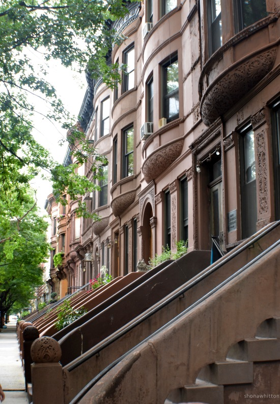 Harlem brownstones.